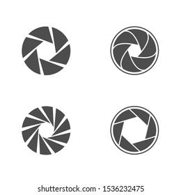 Camera lens diaphragm icon set. Camera shutter icons, Vector illustration