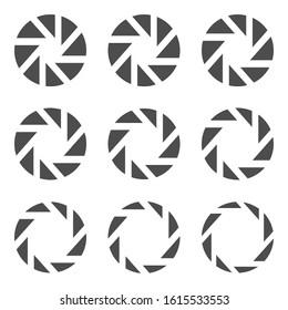 Camera lens diaphragm icon set. Camera shutter symbols, Vector illustration