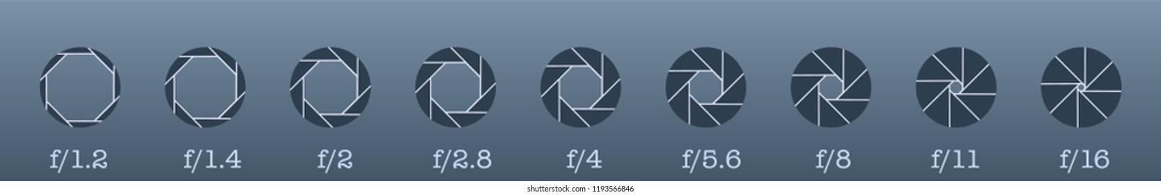 Camera lens diaphragm row with aperture value numbers.Aperture icon set. Photo diaphragm set vector white isolated on grey background