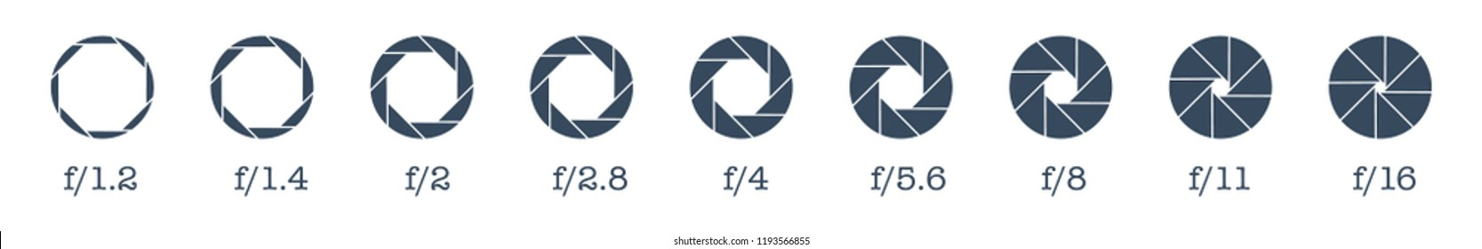 Camera lens diaphragm row with aperture value numbers.Camera shutter icons set. Vector camera shutter apertures