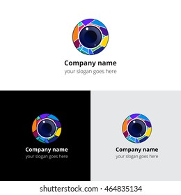 Camera lens eye with colorful circle gradient and vector logo template. Digital vision symbol, logo, icon, sign, emblem. Abstract logo for photograph studio, camera shop, photo company or service.
