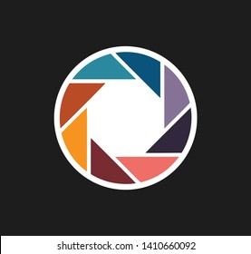 Camera lens icon vector, isolated on black