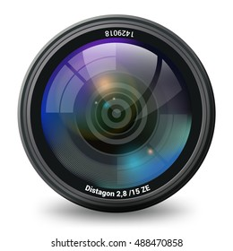 Camera lens isolated front view photorealistic vector illustration. Photo and video cameras accessory and equipment collection.