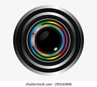 Camera Lens On Simple Background