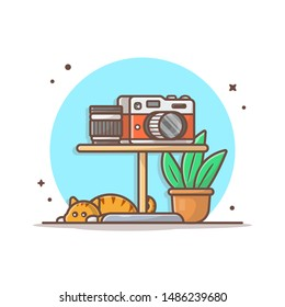 Camera And Lens On the Table Vector Icon Illustration. The Cute Cat Sleeping Under The Table With A Plant White Isolated. Flat Cartoon Style Suitable for Web Landing Page, Banner, Flyer, Background.