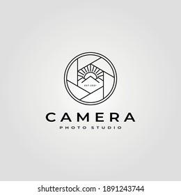 camera lens photography logo with nature mountain symbol vector illustration design