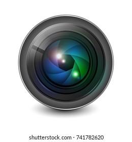 Camera lens shutter aperture isolated vector.