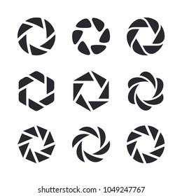 Camera lens shutter, diaphragm and photographer logo design elements