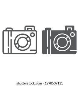 Camera line and glyph icon, lens and photo, photocamera sign, vector graphics, a linear pattern on a white background.