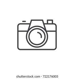 Camera line icon, outline vector sign, linear style pictogram isolated on white. Symbol, logo illustration. Editable stroke