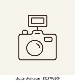 Camera line icon. Photo, photographer, instrument, tool. Mass media concept. Can be used for topics like shooting, photojournalist, news making, photographic report