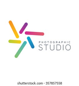Camera logo. Photo logo. Shutter logo. Photography logo. Design logo. Colorful logo. Focus logo. Lens logo
