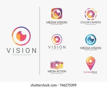 Camera logo set. Polygonal camera logotypes
