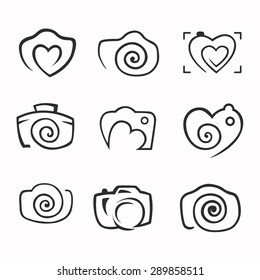 Camera, logo vector set. Trendy Hipster graphic collection equipment. photo icon