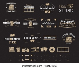 Camera logo. Vintage Photography Badges, Labels, dslr. Hipster design with photographer elements. Retro style for photo studio, photographer, equipment store. Gadget Signs. Vector old photo icons set