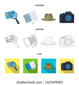 Camera, magnifier, hat, notebook with pen.Detective set collection icons in cartoon,outline,flat style vector symbol stock illustration web.