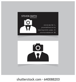Camera man logo Minimal Corporate Business card with Black and White Color