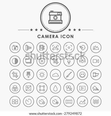 Camera minimal line icons circle button stock vector for Camera minimal