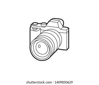 Camera mirrorless or DSLR digital black line icon on white background
