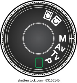 Camera mode dial for choosing shooting mode: Auto mode, Program mode, Aperture priority mode, Shutter priority mode, Manual mode in vector