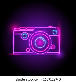 Camera neon logo. glow in the dark. electric theme season. party night club. vector eps10.