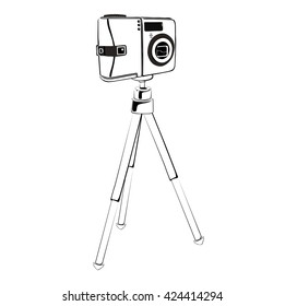 The camera on a tripod. Black - white linear vector illustration on a white background.