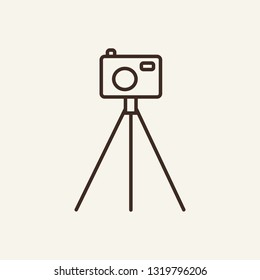 Camera on tripod line icon. Photo, photographer, equipment. Mass media concept. Can be used for topics like shooting, photojournalist, instrument, tools