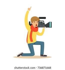 Camera operator ready to recording news video
