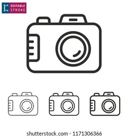 Camera outline icon on white background. Editable stroke. Vector illustration.