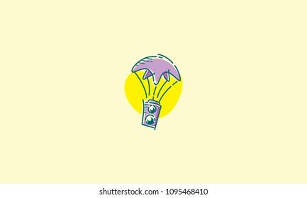 camera and parachute logo vector