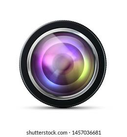 Camera photo lens, Camera lens isolated - stock vector