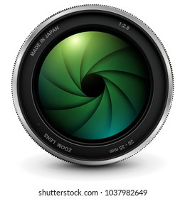 Camera photo lens with shutter, vector illustration.