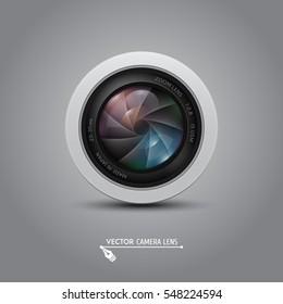 Camera photo lens with shutter. Vector illustration.