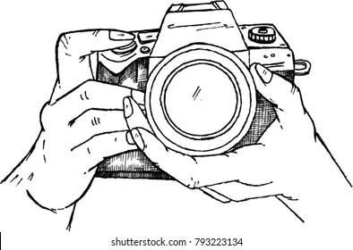 camera, photographer, sketch