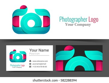 Camera Photographer Studio Corporate Logo and Business Card Sign Template. Creative Design with Colorful Logotype Visual Identity Composition Made of Multicolored Element. Vector Illustration.