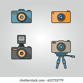 Camera and photography icon set vector