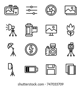 Camera And Photography Icons and Camera Accessories Icons with White Background