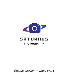 camera photography with saturn planet ring logo icon vector inspiration