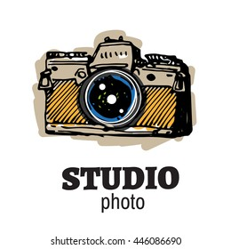 Camera photography studio vector logo illustration.