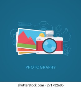 Camera and pictures. Photo shooting background. Modern flat design template.