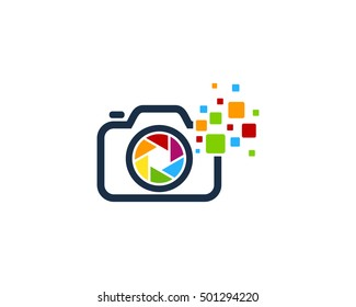 Camera Pixel Digital Photography Logo Design Template