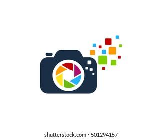 Camera Pixel Photography Logo Design Template
