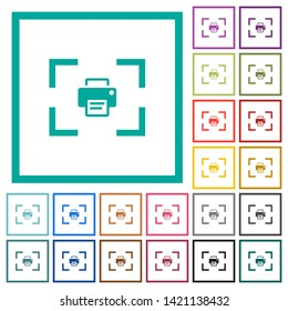 Camera print image flat color icons with quadrant frames on white background