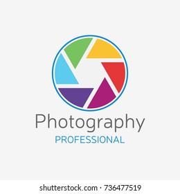 Camera professional logo. Color shutter vector design. Concept for photo studio.
