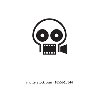 camera recorder with big eyes as reel showing horror movie logo