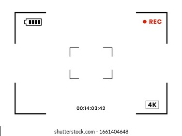 Camera recorder frame. Camcorder screen view with digital focus, video camera viewfinder isolated on white background. Photo frame screen, vector illustration