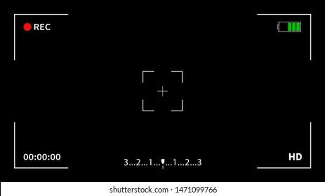 Camera recording screen. Camera frame viewfinder screen of video recorder digital display interface.