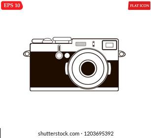 camera retro flat design.Camera vintage icon.photocamera digital Icon.Vector illustration