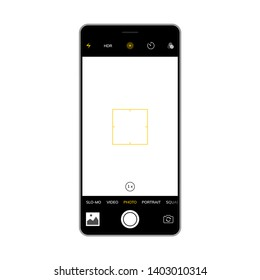 Camera screen phone mobile interface app. Smartphone photo viewfinder ui template design.
