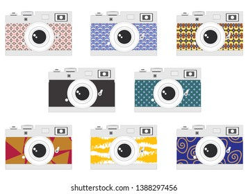 Camera set with various body colours and pattern - Retro, Vintage, pastel, modern. Flat graphic illustration vector compact slr or Dslr camera icon for design work